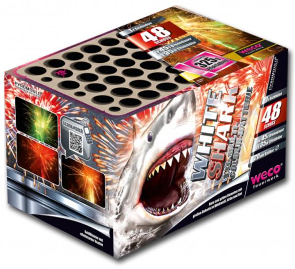Feuerwerk White Shark 48-Schuss-Batterie von Weco online kaufen im Feuerwerkshop Funkelfun