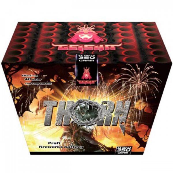 Feuerwerk Thorn Fächer   Aufstig in crackling oben rot und crackling gold von Gaisha online kaufen im Feuerwerkshop Funkelfun