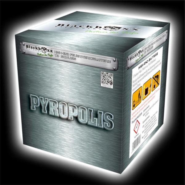Feuerwerk Pyropolis, 13 Schuss Batterie  von Blackboxx online kaufen im Feuerwerkshop Funkelfun
