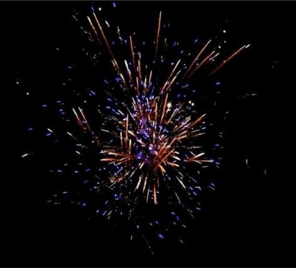 Feuerwerk Brocade Sin  golden strobing willow + blue stars + crackling, von Pyrotrade online kaufen im Feuerwerkshop Funkelfun